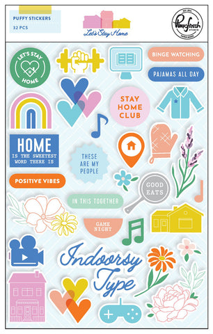 Let's Stay Home Puffy Stickers
