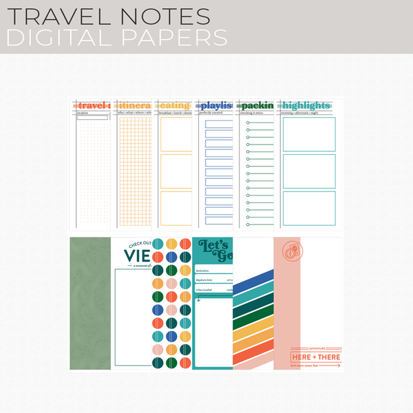 Travel Notes Digital Papers