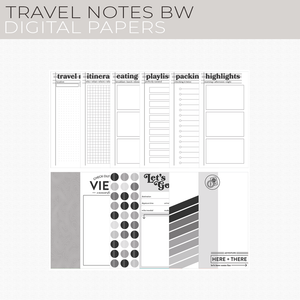 Travel Notes BW Digital Papers