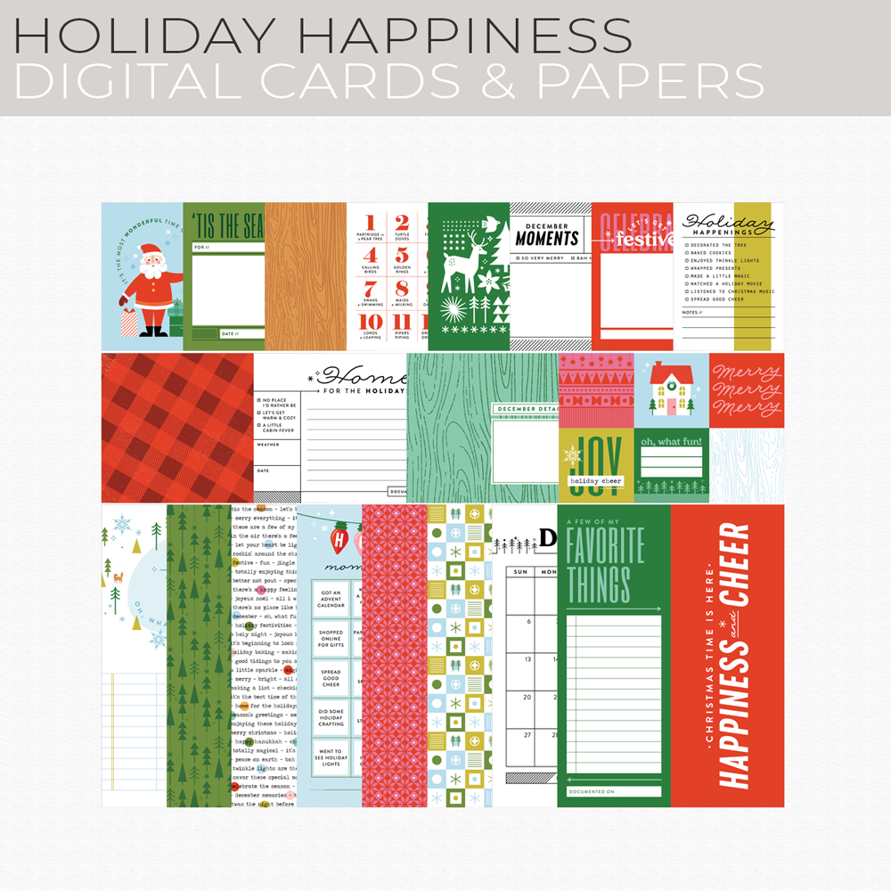 Holiday Happiness Digital Cards and Papers