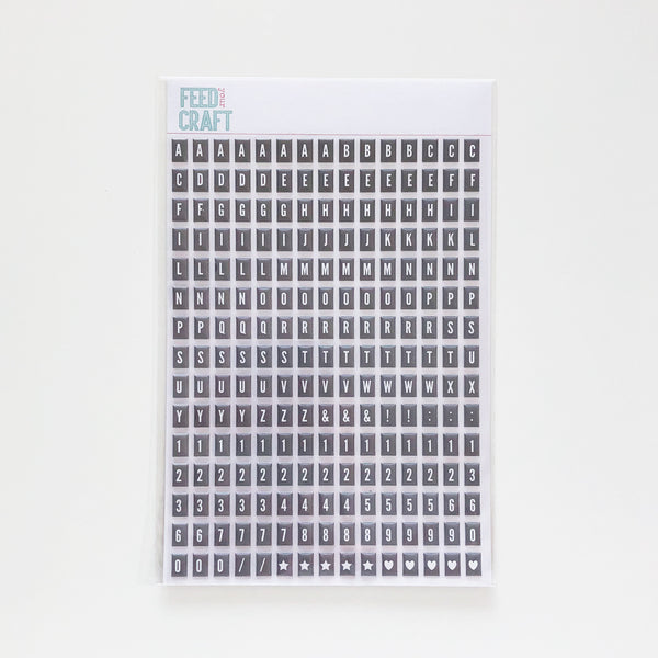 Grey Tile Puffy Alphabet Stickers