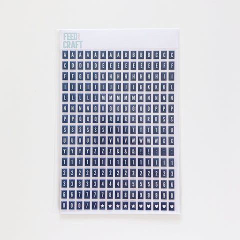 Navy Tile Puffy Alphabet Stickers
