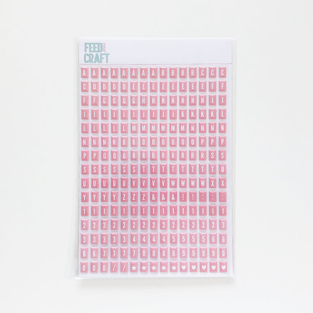 Pink Tile Puffy Alphabet Stickers