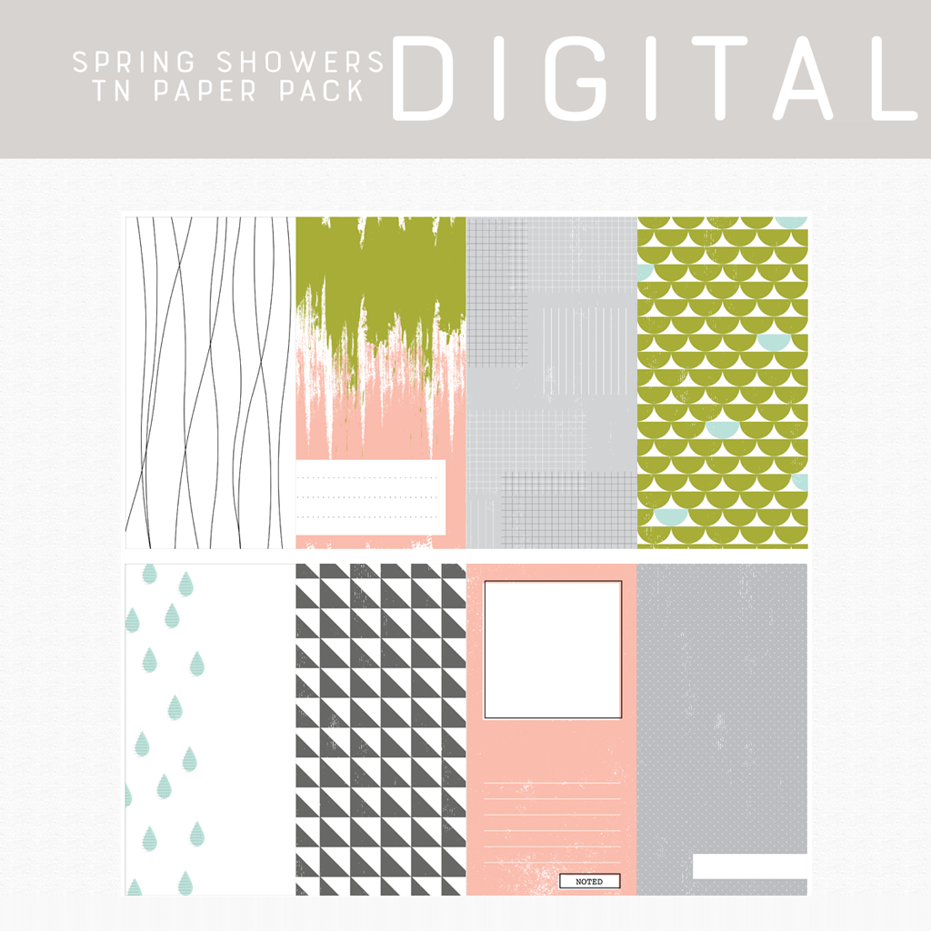 Spring Showers Digital Papers