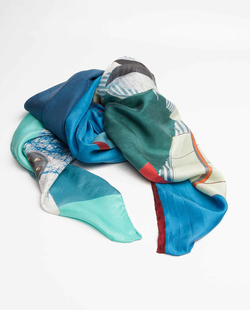 Silk scarf blue