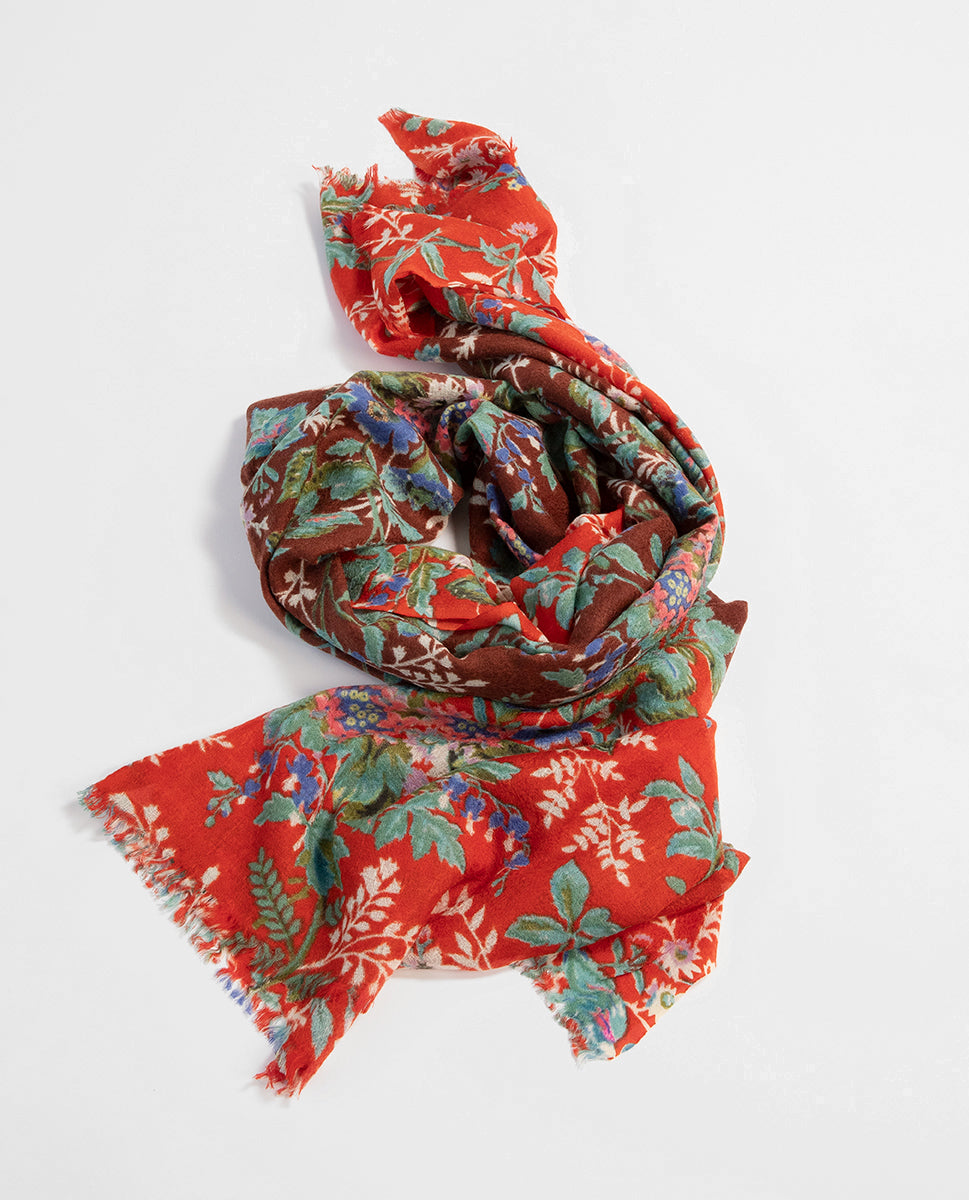 Flowered scarf rouge - Epice