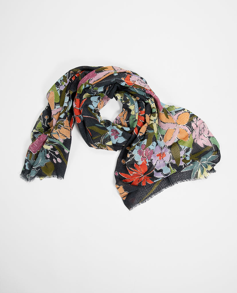 Flowered scarf charcoal - Epice