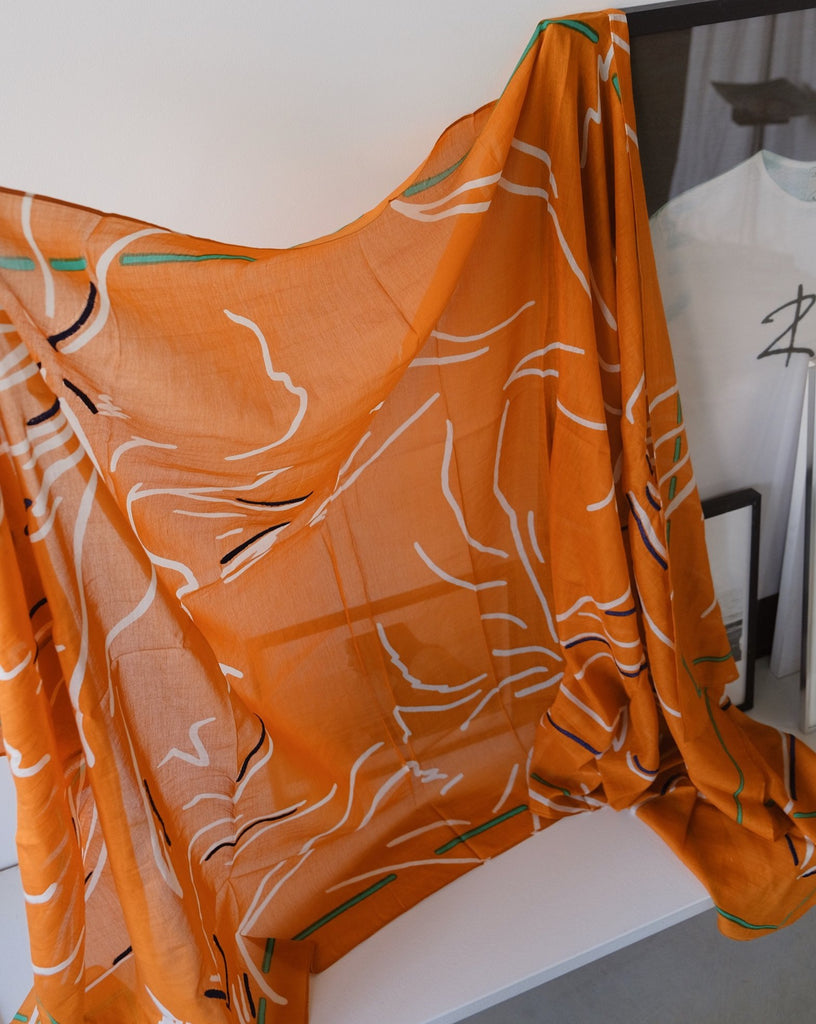 Orange printed scarf - Scarf