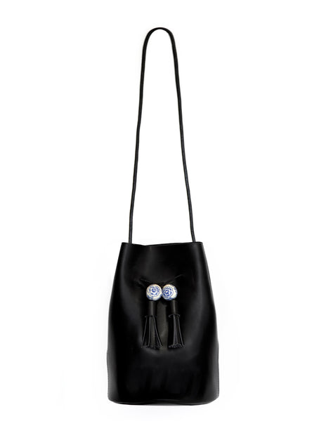 Tassel Black Large Bucket Bag