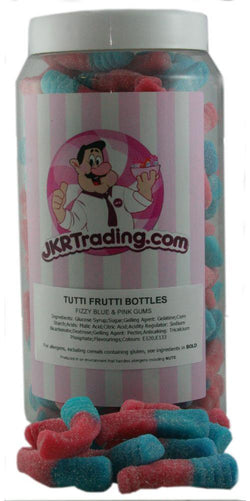 Tutti Frutti Bottles Sweet Jar A Gift Jar Full Of Fizzy Pink And Blue Bottles