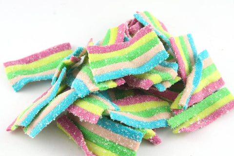rainbow bites Fizzy assorted fruit flavoured rainbow coloured belts. - JKR Trading