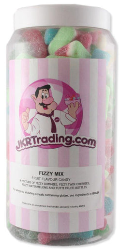 Fizzy Mix Sweet Jar Full Of Watermelons Bubblegum Bottles, Dummies And Cherries