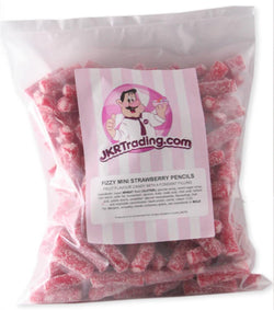 Mini Fizzy Strawberry Pencils Sour Strawberry Bites 1kg Share Bag - JKR Trading