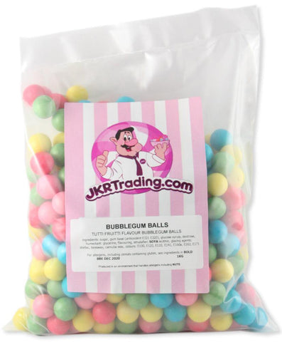 Bubblegum Balls 1KG Value Bag Multi-coloured Tutti Frutti Flavoured Bubblegum Balls - JKR Trading