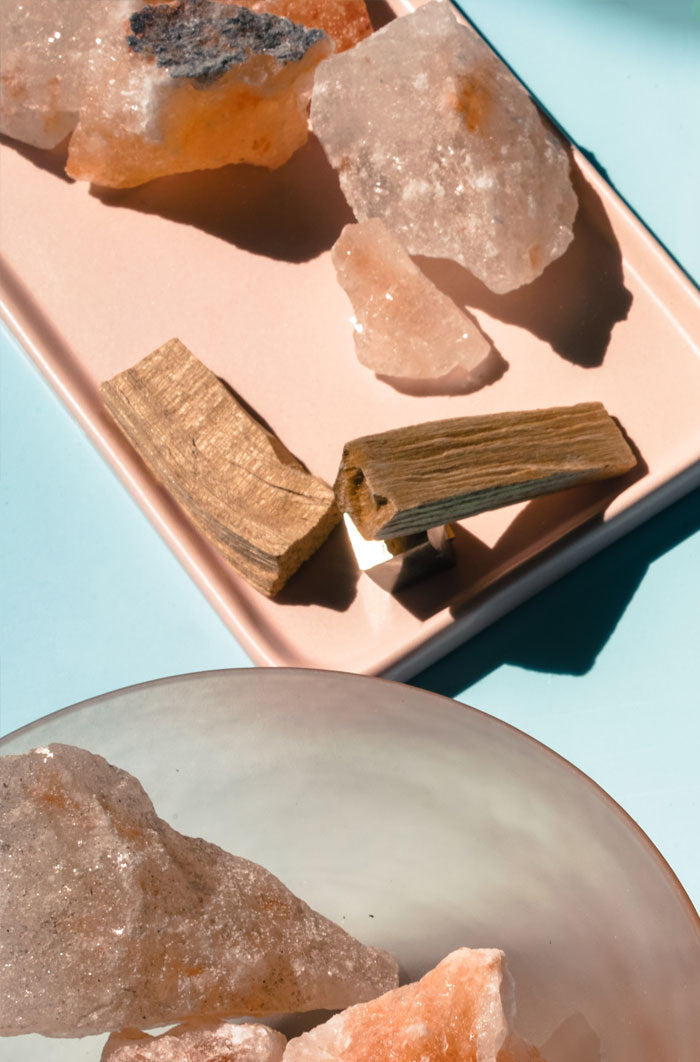 Palo Santo Bundle with Pyrite Stand and Blush Tray
