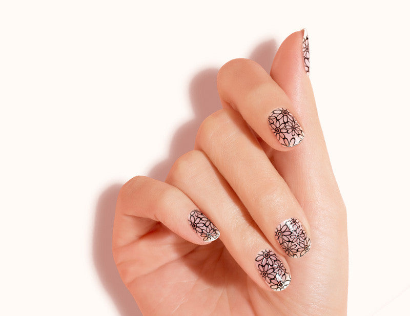 Black Transparent Floral Daisy Chain Design FX Patterns No Heat Nail Wraps 16 Wraps NW10 Close Up - Dashing Diva.jpg