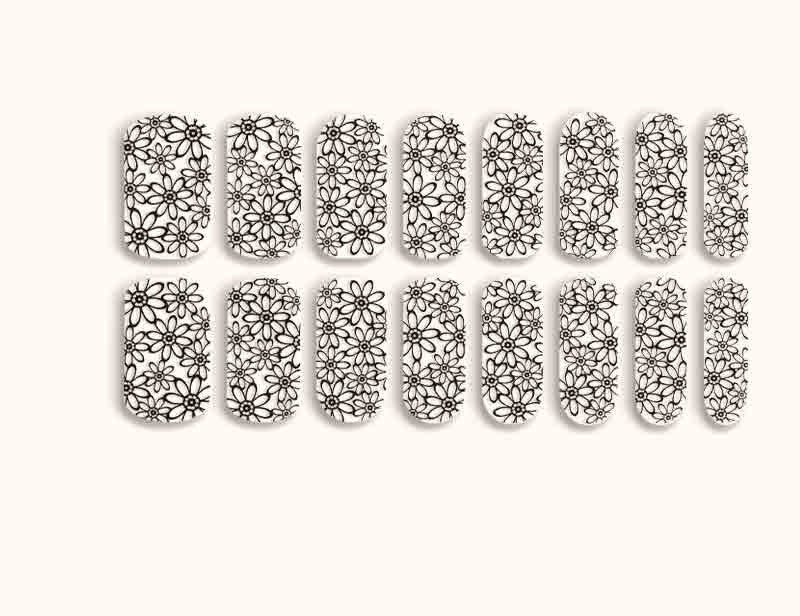 Black Transparent Floral Daisy Chain Design FX Patterns No Heat Nail Wraps 16 Wraps NW10 - Dashing Diva.jpg