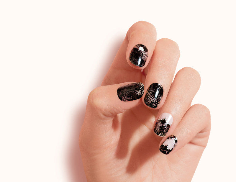 Black Transparent Lace Leading Lady Design FX Patterns No Heat Nail Wraps 16 Wraps NW07 Close Up - Dashing Diva.jpg
