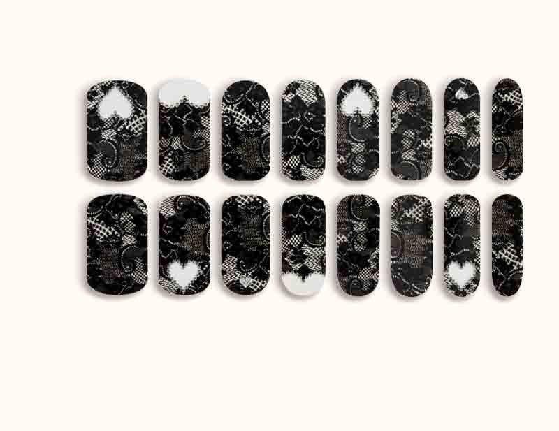 Black Transparent Lace Leading Lady Design FX Patterns No Heat Nail Wraps 16 Wraps NW07 - Dashing Diva.jpg