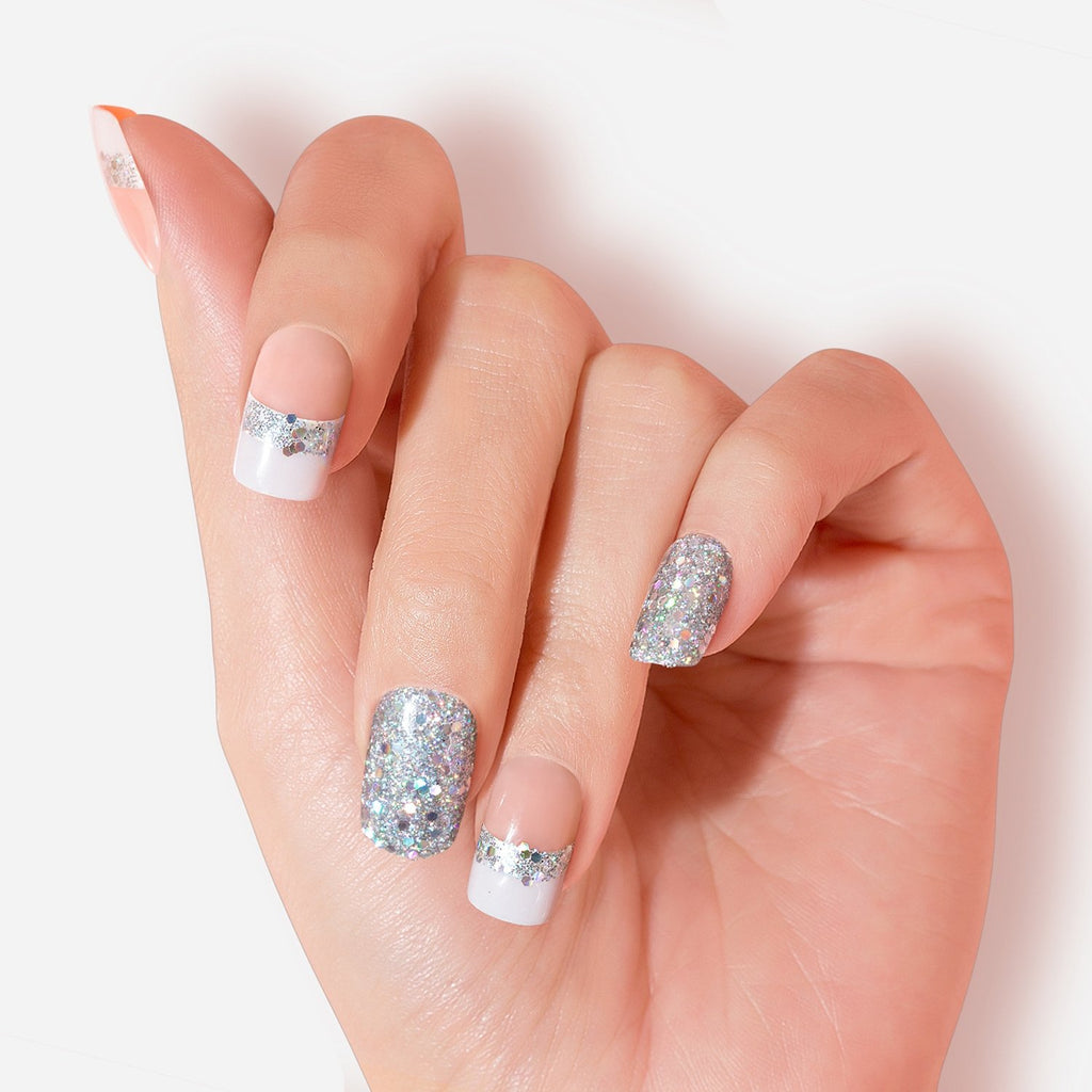 Peach French Manicure Glitter Must Have Artificial False Glue On Gel nails Medium Squoval 30 Count GN24 Close Up - Dashing Diva.jpg