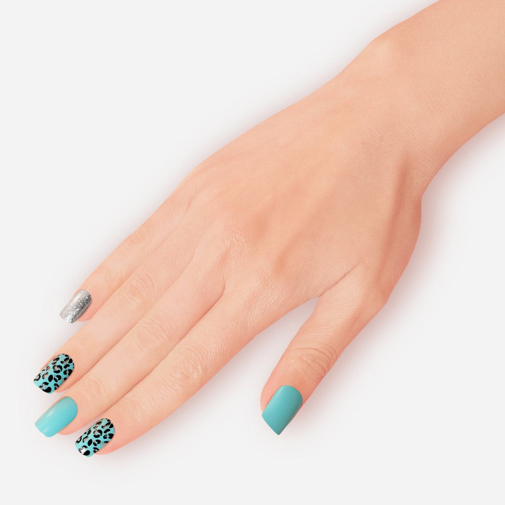 Teal Blue Pool Party Artificial False Glue On Gel Nails Medium Squoval 30 Count GN16 Gesture - Dashing Diva.jpg