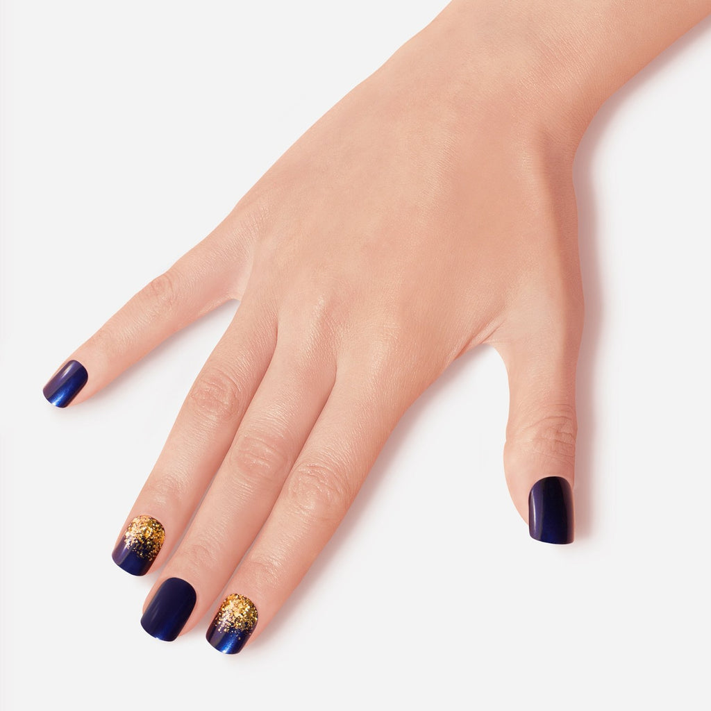 Navy Blue Read My Tips Artificial False Glue On Gel Nails Short Squoval 30 Count GN13 Gesture - Dashing Diva.jpg