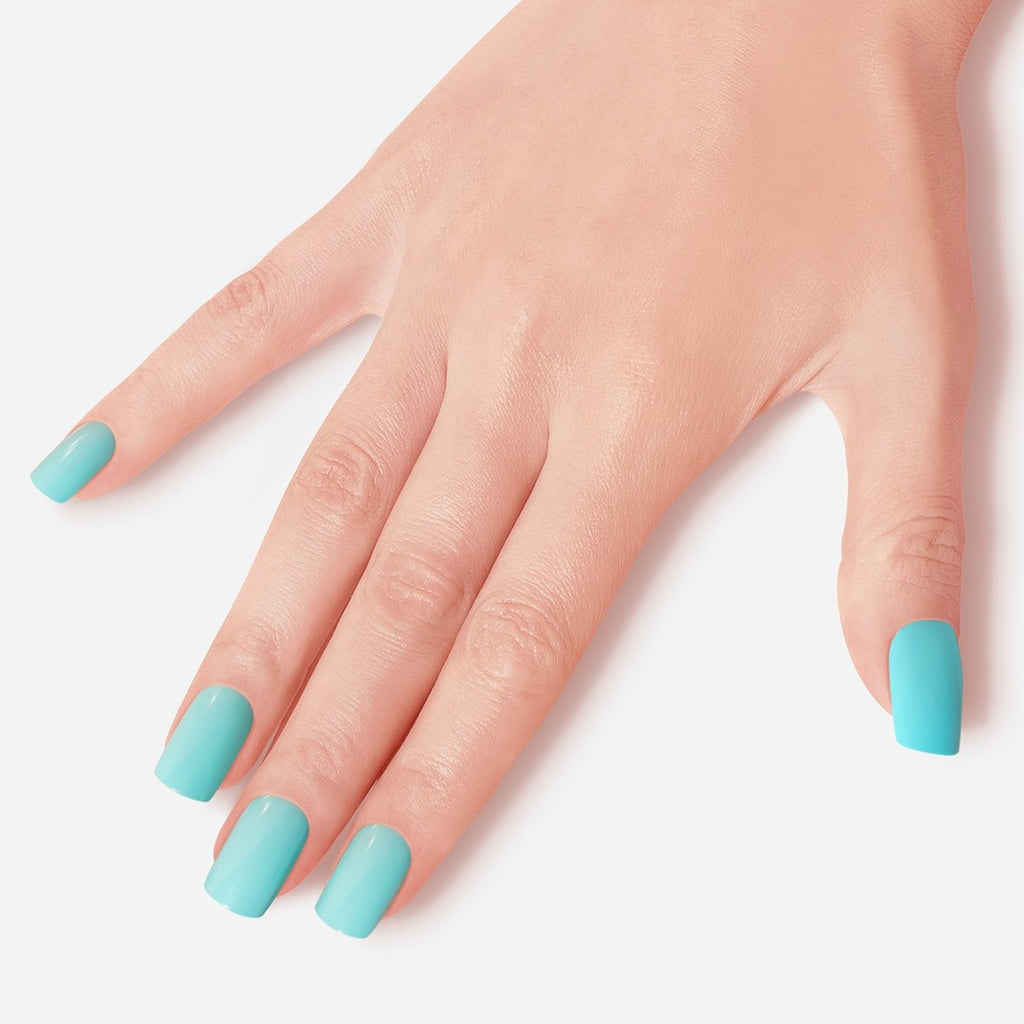 Teal Happy Dance Artificial False Glue On Gel Nails Medium Squoval 28 Count GN04 Gesture - Dashing Diva.jpg