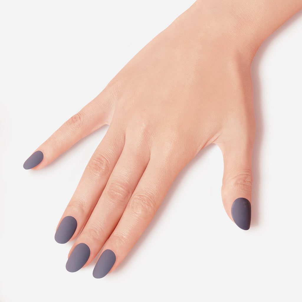 Purplish Grey Velvet Rebellion Matte Artificial False Glue On Gel Nails Medium Round 28 Count GN11 Gesture - Dashing Diva.jpg