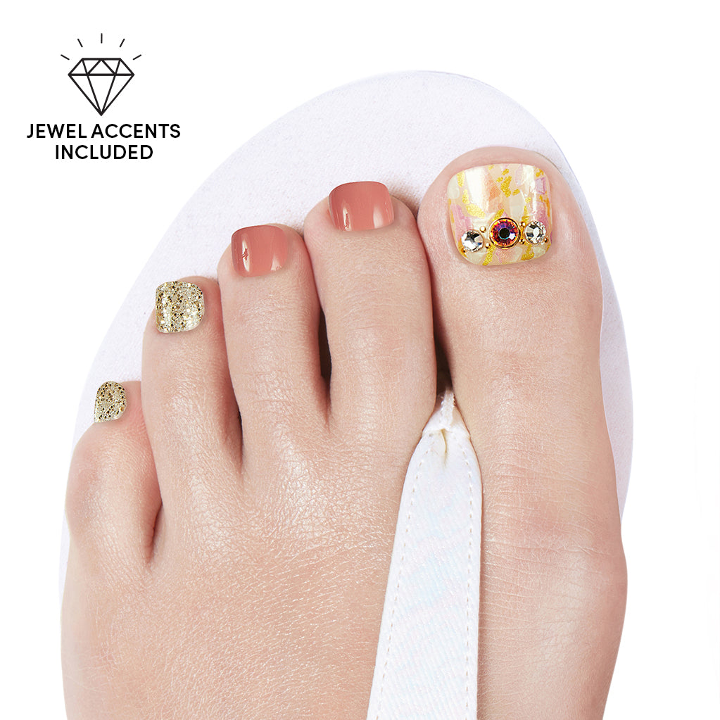 Sunset Sparkle | Gloss Gel Nail Strips for Toes by Dashing Diva