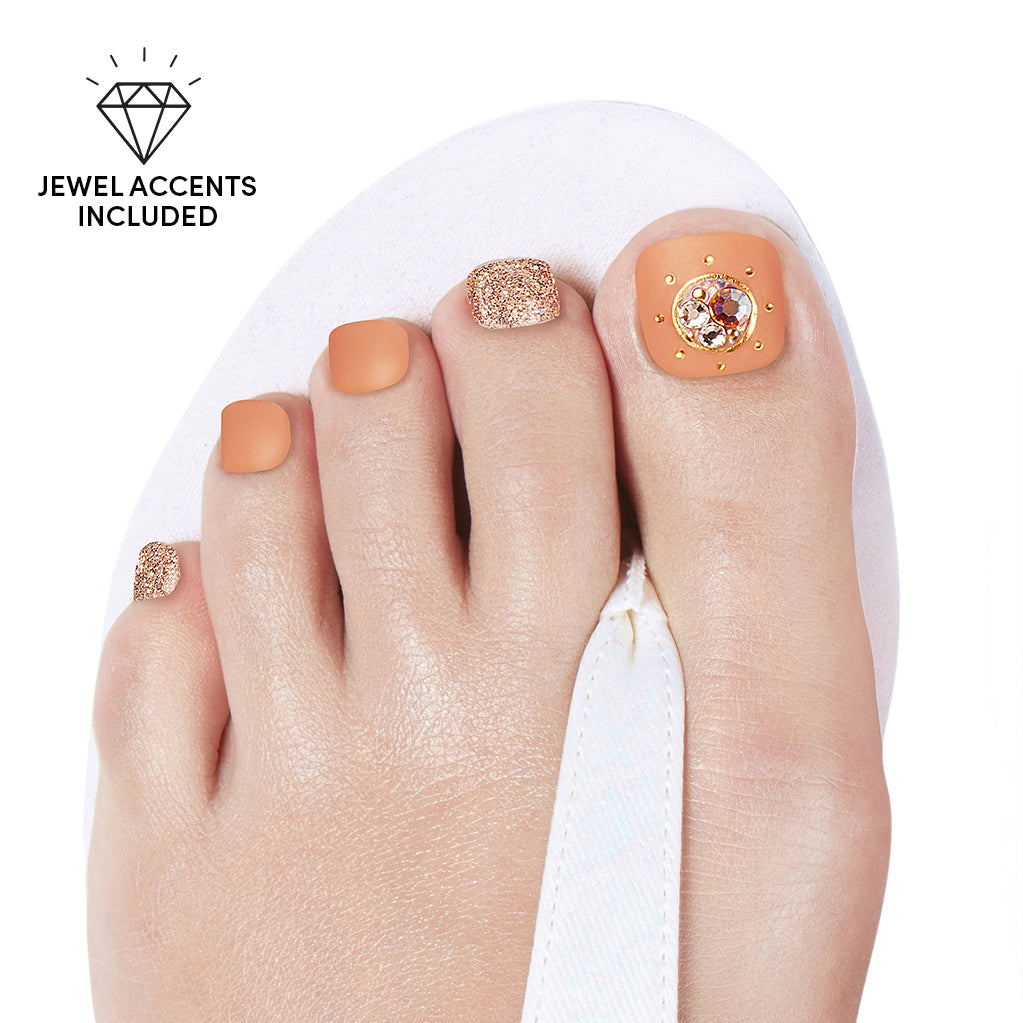Peaches and Cream | Gloss Gel Nail Strips for Toes by Dashing Diva