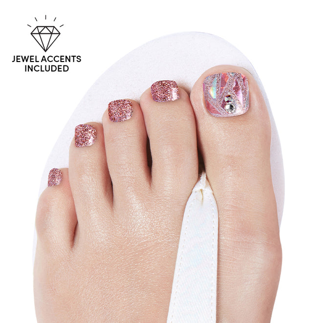 Rose Quartz | Gloss Gel Nail Strips for Toes by Dashing Diva