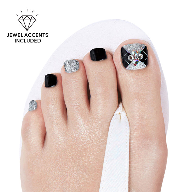 Chill Zone | Black and Silver Gloss Gel Nail Strips by Dashing Diva
