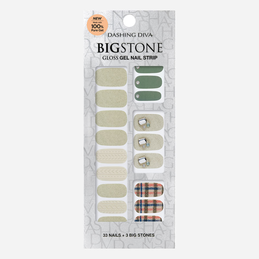 Green Piece | Big Stone Gloss Gel Nail Strips by Dashing Diva