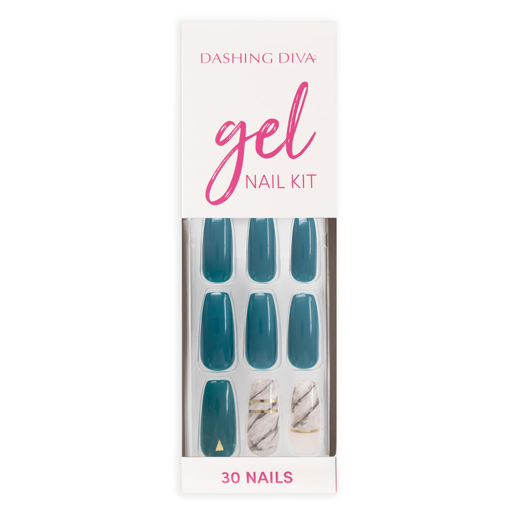 Marbleous Green | Glue On Gel Nail Kit by Dashing Diva