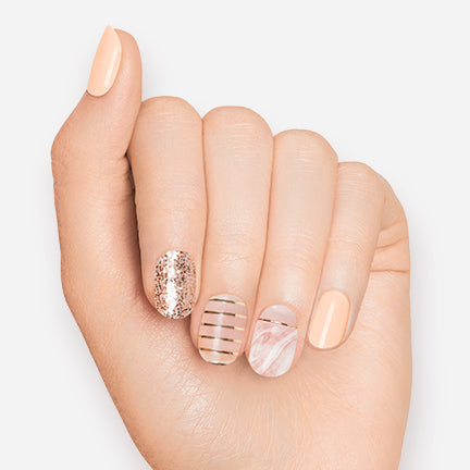 Pink Onyx | Pink Marble and Gold Gloss Gel Nail Strips by Dashing Diva