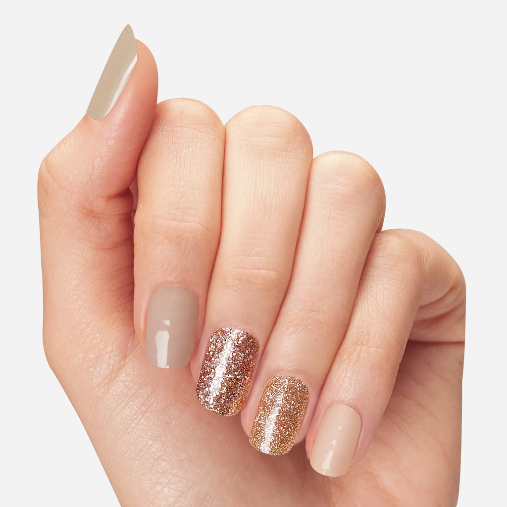 Sweet Relief | Nude and Glitter Gloss Gel Nail Strips by Dashing Diva