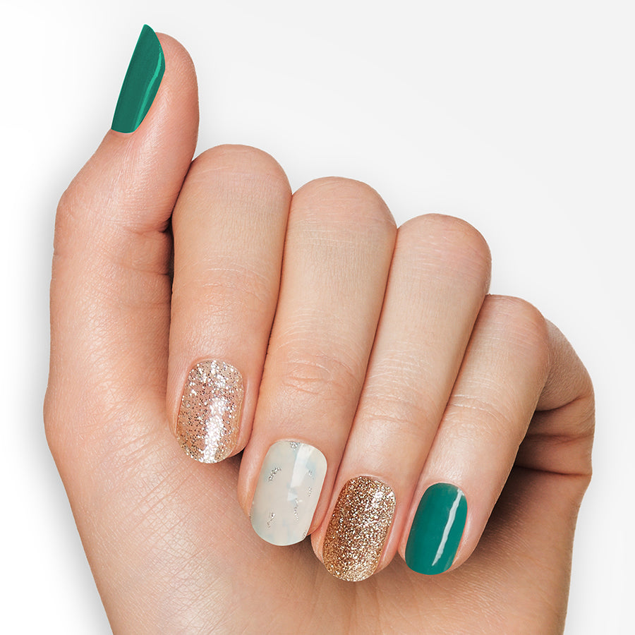 Sea Mist | Green and Gold Gloss Gel Nail Strips by Dashing Diva
