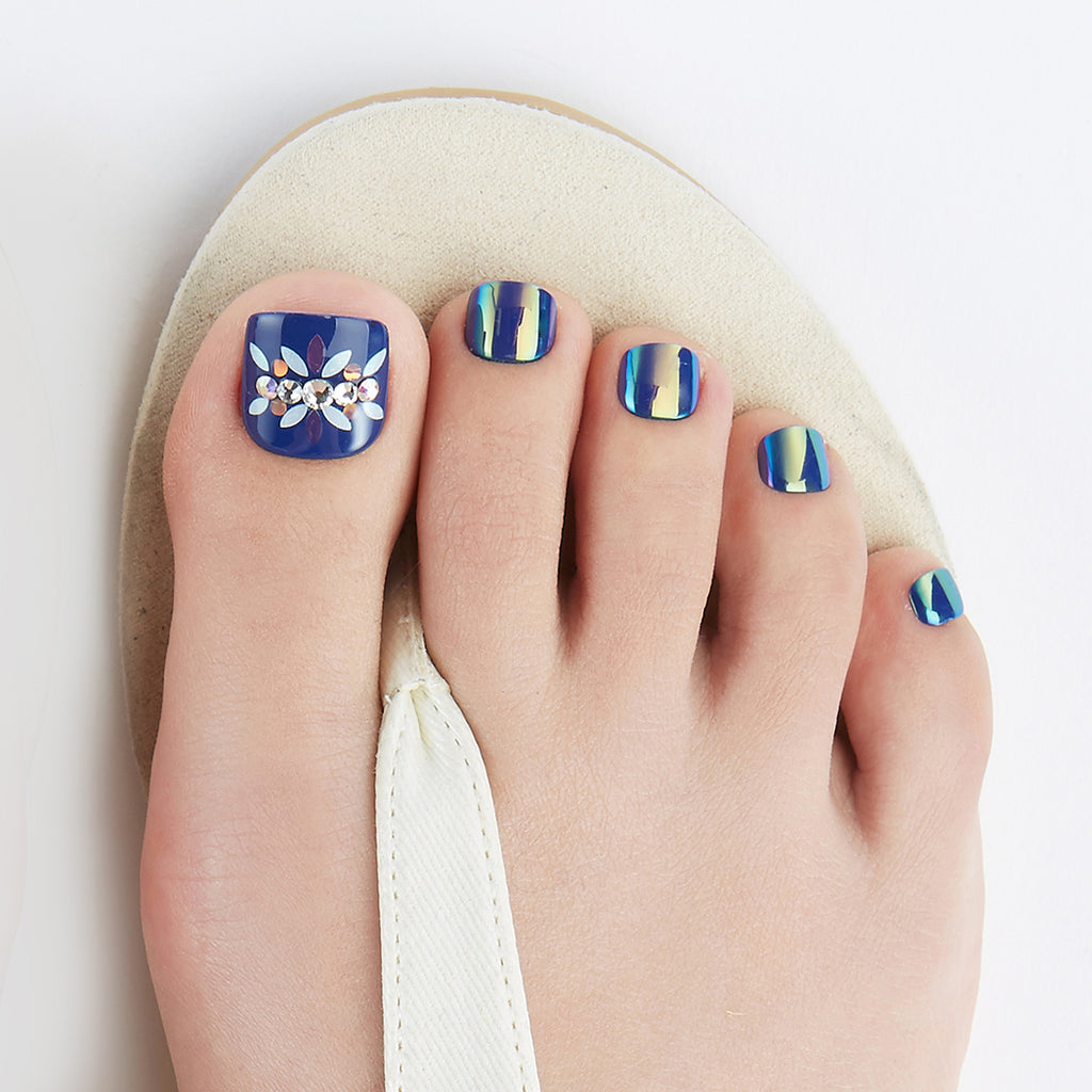 Monday Blues | Magic Press Nails for Toes by Dashing Diva