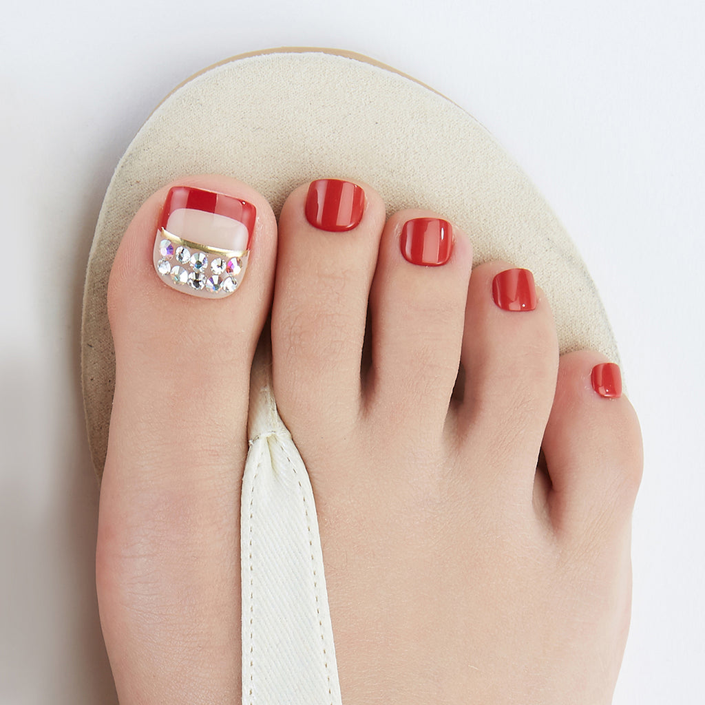 Red Alert | Magic Press Nails for Toes by Dashing Diva