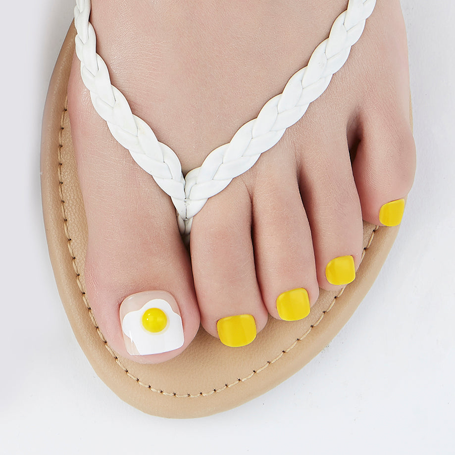 Sunny Side Up | Yellow Magic Press Nails for Toes by Dashing Diva