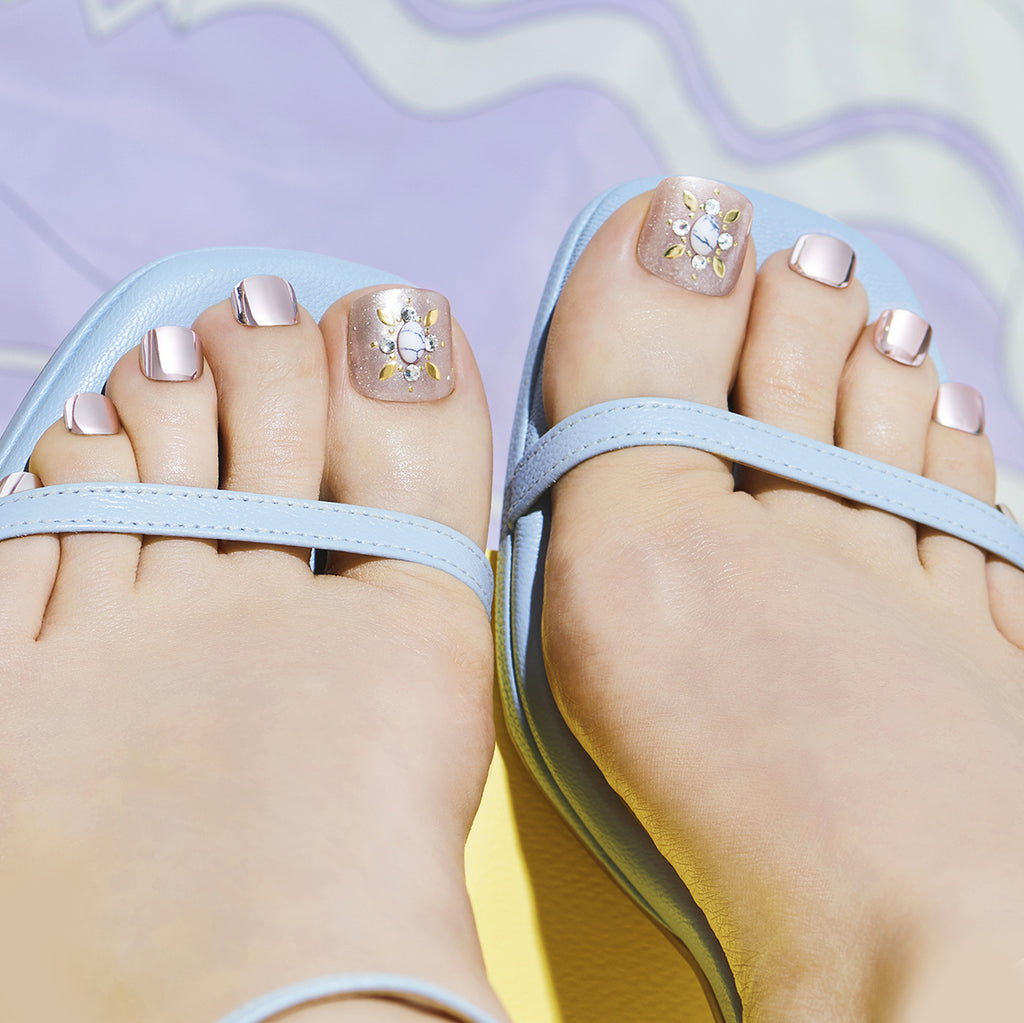 Made of Stone | Magic Press Toe Nails by Dashing Diva