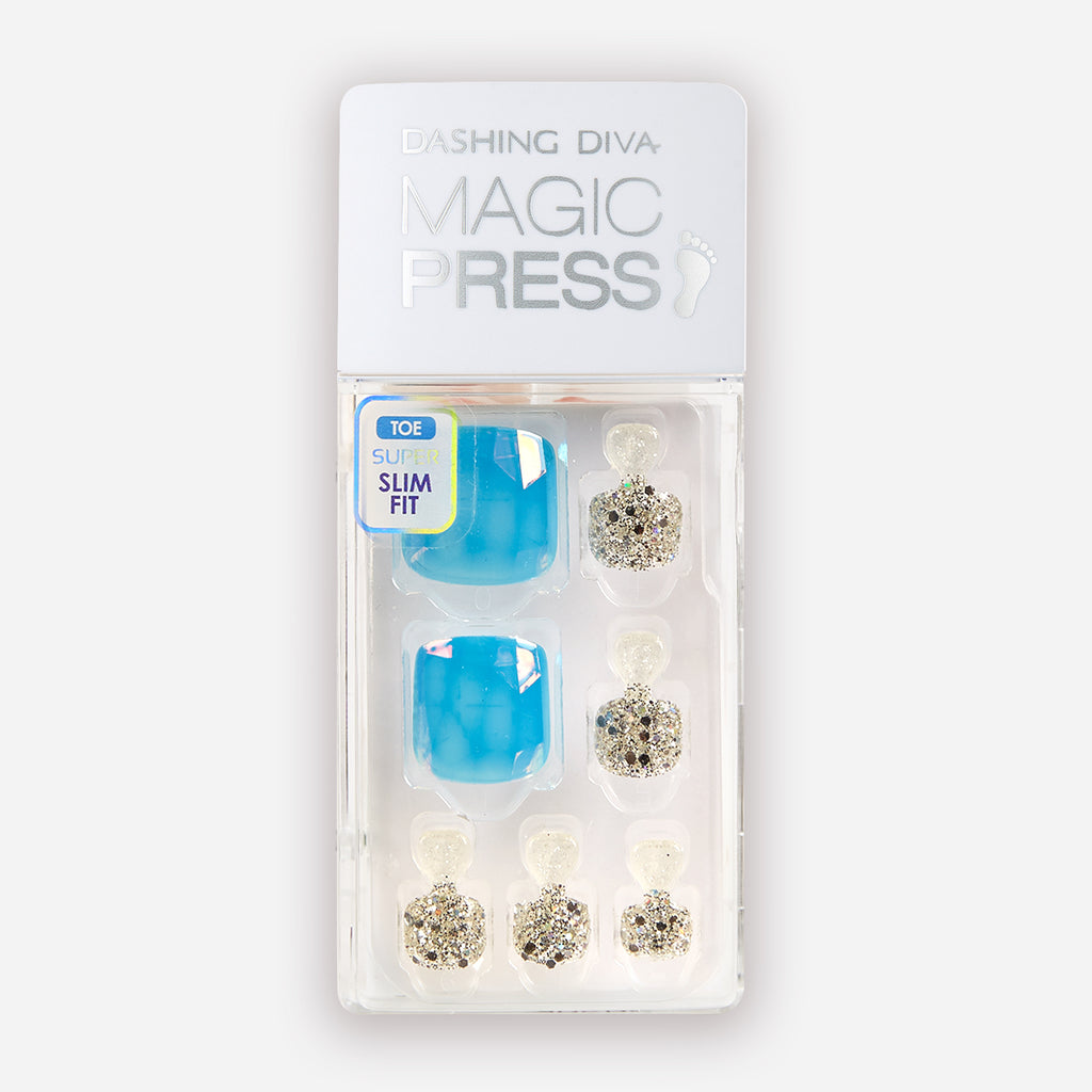 Aquamarine Queen | Magic Press Nails for Toes by Dashing Diva