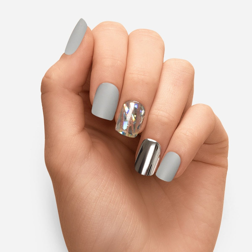 Femme Fatale | Silver and Gray Magic Press Nails by Dashing Diva