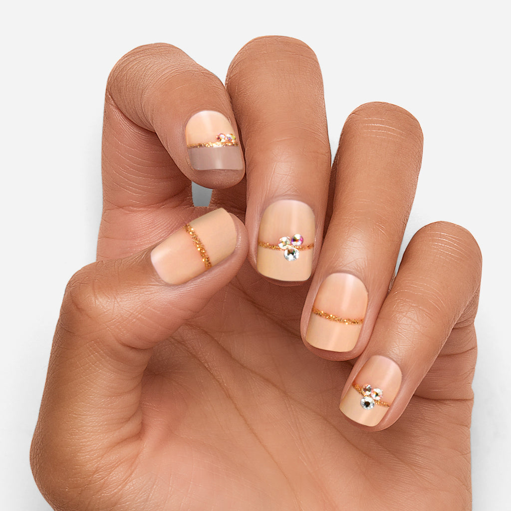 Two Tone Temptation | Peachy French Magic Press Nails by Dashing Diva