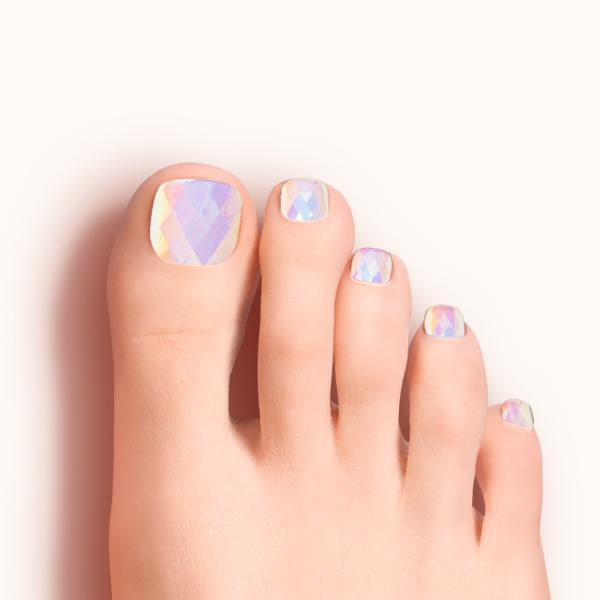 White Hot | Iridescent Magic Press Nails for Toes by Dashing Diva