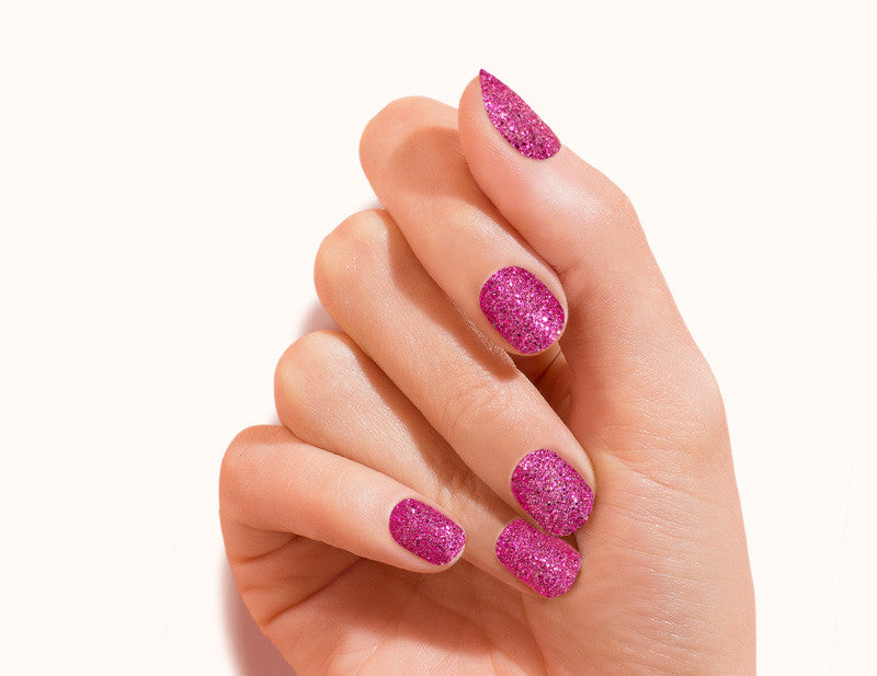 Magenta All Fired Up Design FX Glitter No Heat Nail Wraps 16 Wraps NWG07 Close Up - Dashing Diva.jpg