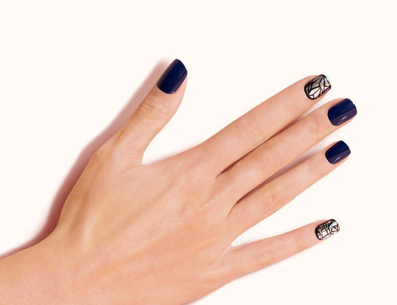 Navy Blue Silver 3rd Dimension Artificial False Magic Press On Nails Short Squoval 30 Count MP23 Flat - Dashing Diva.jpg