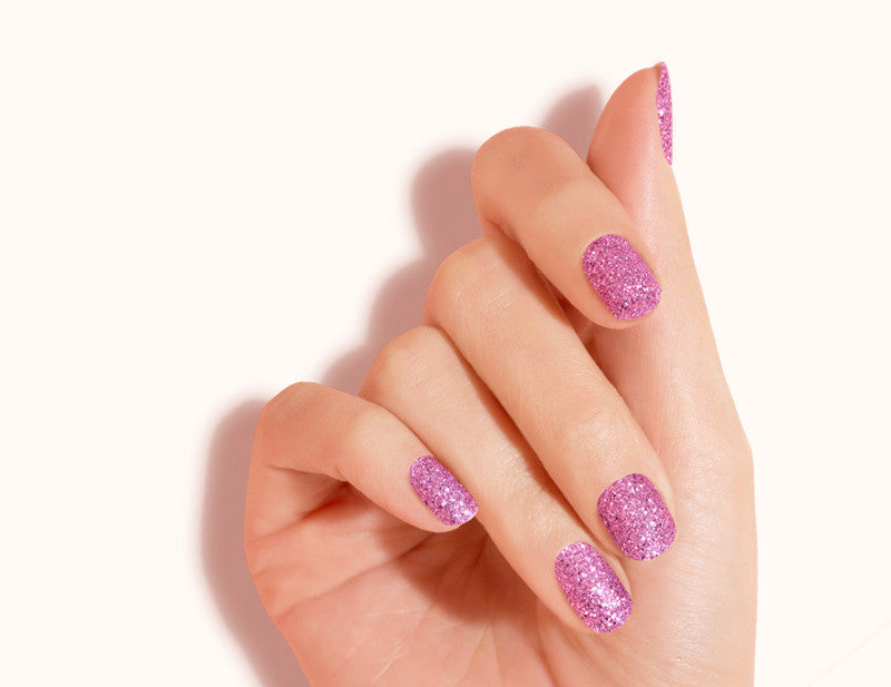 Pink Kitty Kat Design FX Glitter No Heat Nail Wraps 16 Wraps NWG05 Close Up - Dashing Diva.jpg
