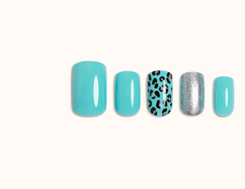 Teal Blue Pool Party Artificial False Glue On Gel Nails Medium Squoval 30 Count GN16 - Dashing Diva.jpg