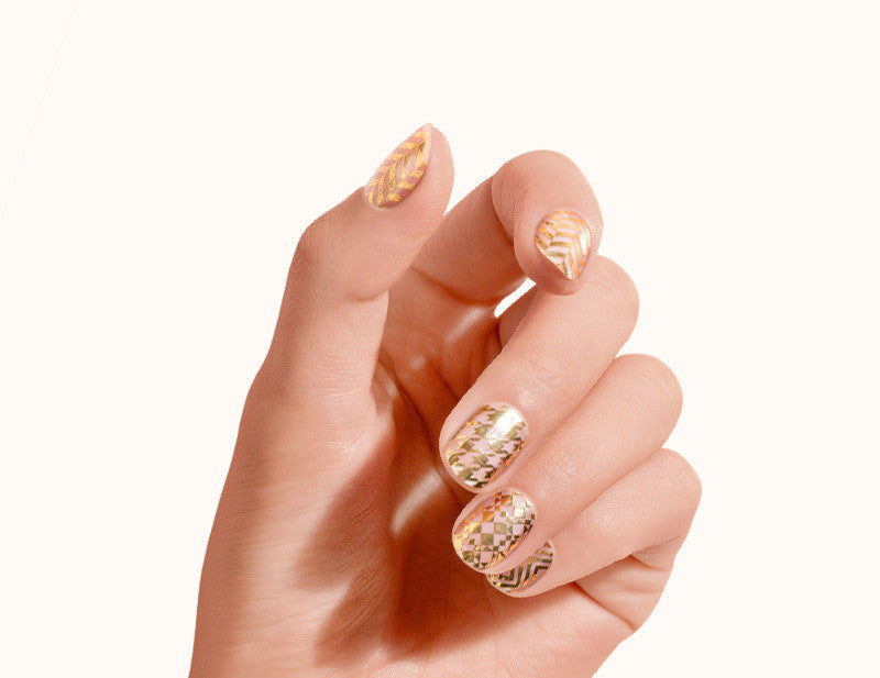 Transparent Gold First Class Design FX Patterns No Heat Nail Wraps 16 Wraps NW09 Gesture - Dashing Diva.jpg